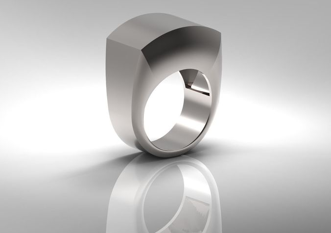 masculine silver ring for men with hollowed inside 3d model stl 3dm 1