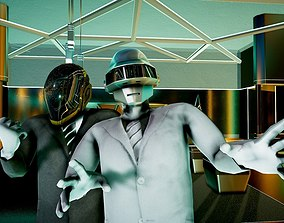 Daft Punk Droids Rigged and Animated 3D model