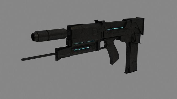 plasma rifle t-800 3d model max obj mtl 3ds fbx stl 1