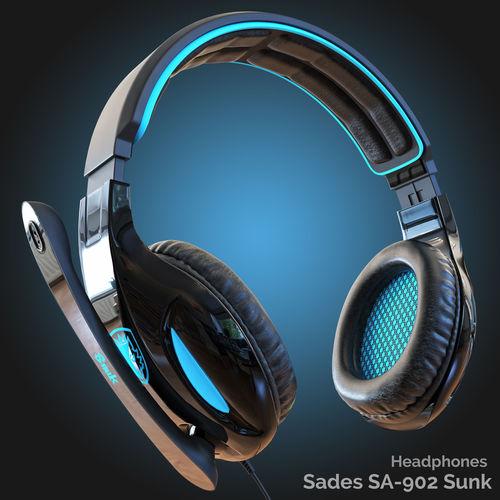 headphones sades sa-902 3d model max fbx 1