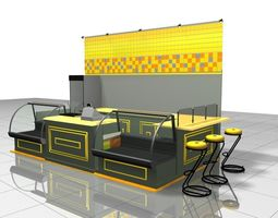3D model Airport fast food cafe