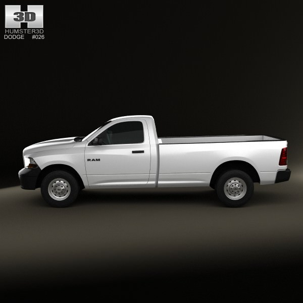 2007 Dodge Ram 3500 Regular Cab Exterior: Dodge Ram 1500 Regular Cab ST 8-foot Box 2012 3D Model MAX