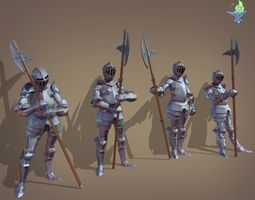 3D asset Gosthly Armor with Halberd 4 poses
