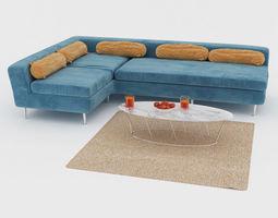 3D interior Blue Sofa