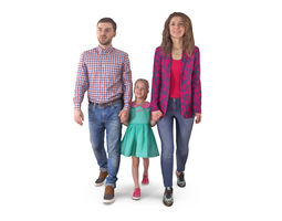 Family Walking 3D asset