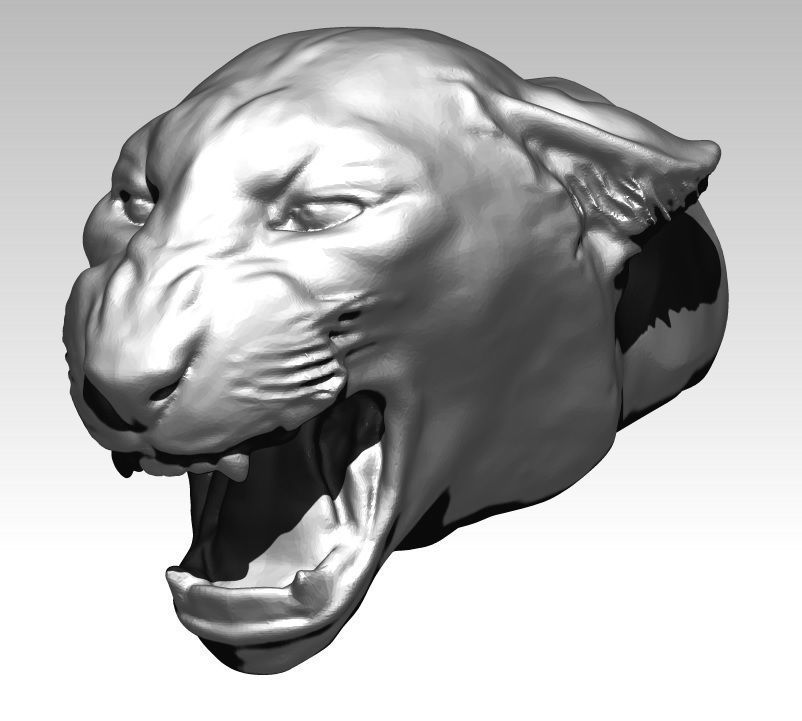 Angry cat tiger puma lion head bust