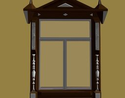 Window For a Wooden House 3D model