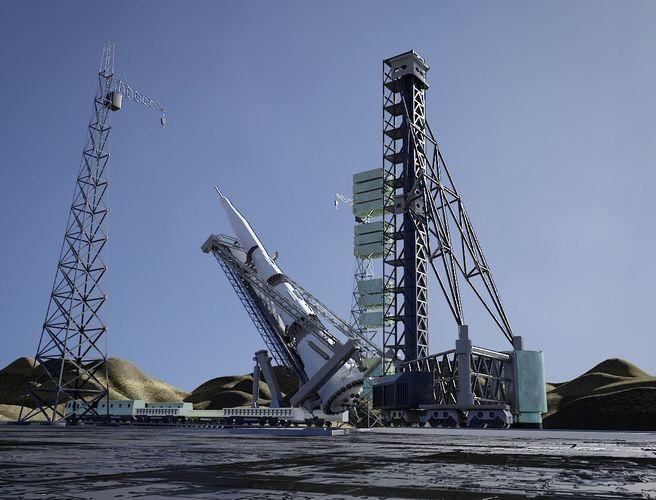 n-1 rocket launch pad 3d model obj mtl fbx stl blend 1