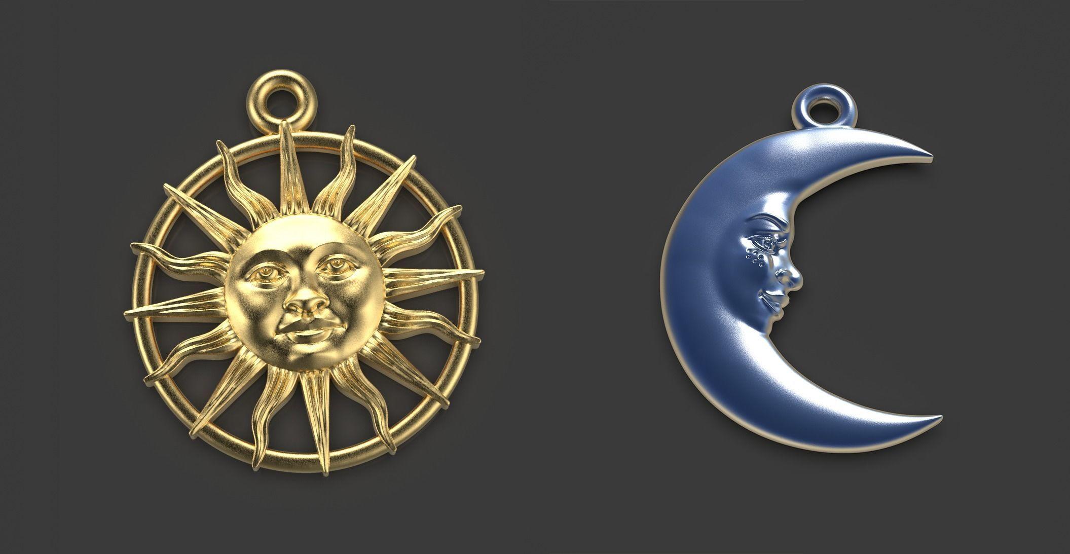 Sun and Moon 3 pendants
