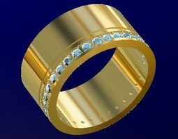 3D printable model wedding ring with gems