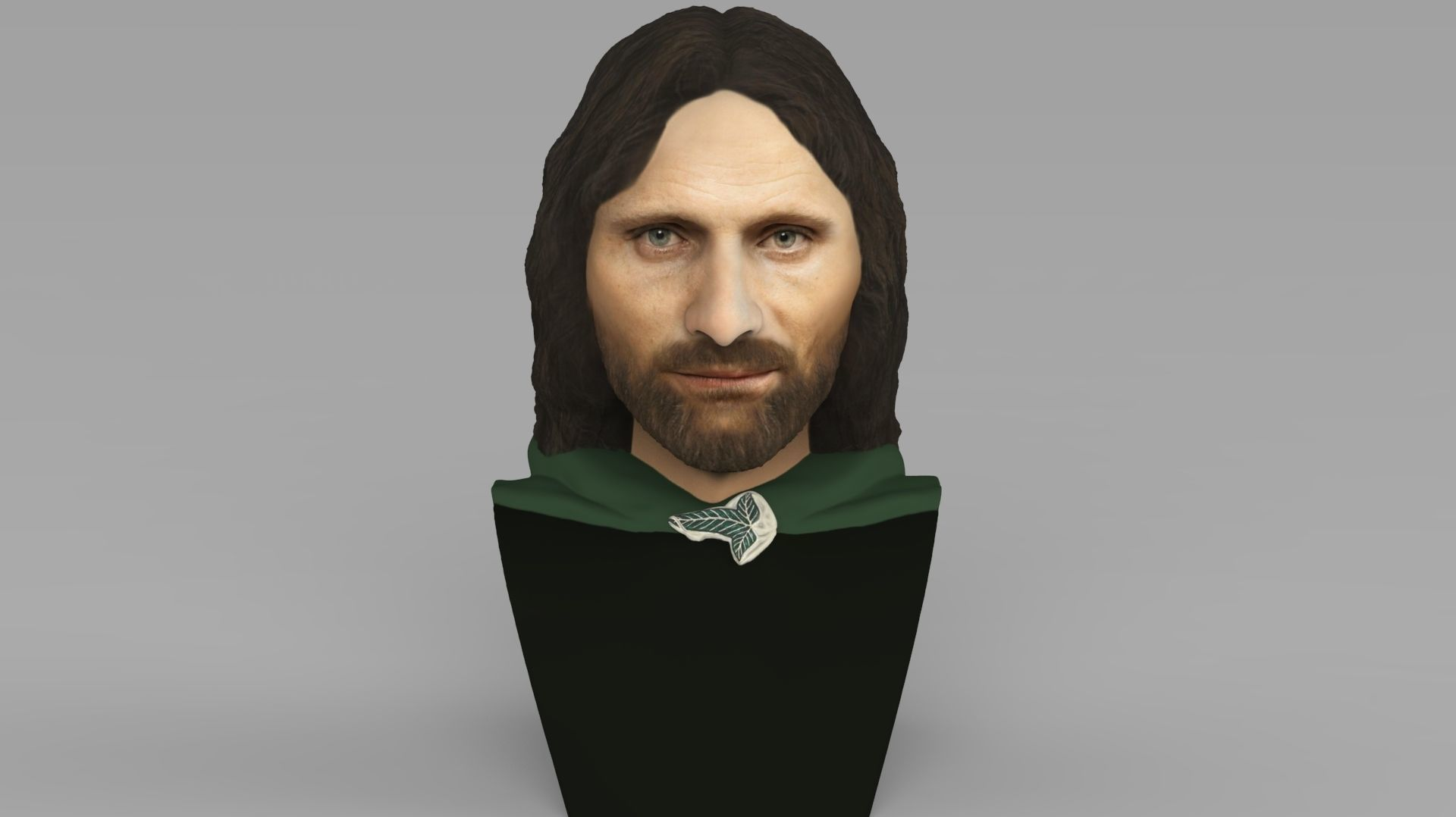 Aragorn bust Lord of the Rings ready for full color 3D printing