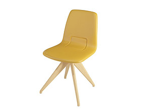 Chair TORSO 837-I POTOCCO Mustard leather and 3D model 1