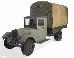 3D asset low-poly military truck