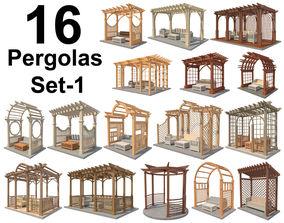 16 Pergolas Set 1 3D asset