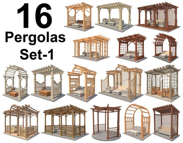 16 pergolas set 1 3d model max obj mtl 3ds fbx c4d ma mb 1