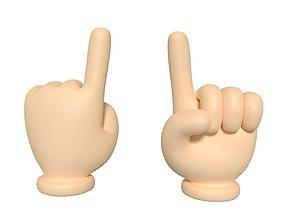3D model Cartoon Hand - Direction Sign