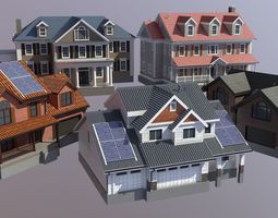 3D asset Modern Suburban House Collection