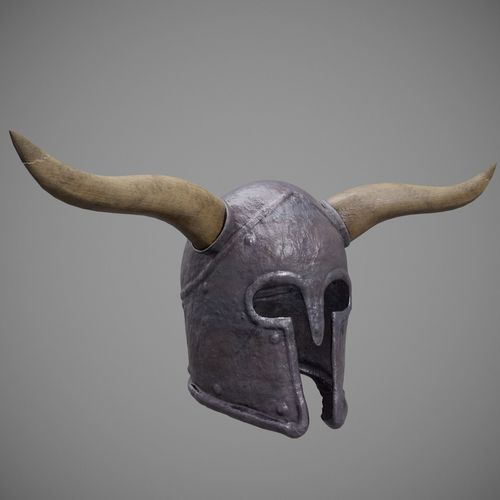 roman - medieval helmet horned 02 3d model low-poly max obj mtl 3ds fbx 1