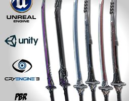 3D asset Sci-fi Swords Pack 3