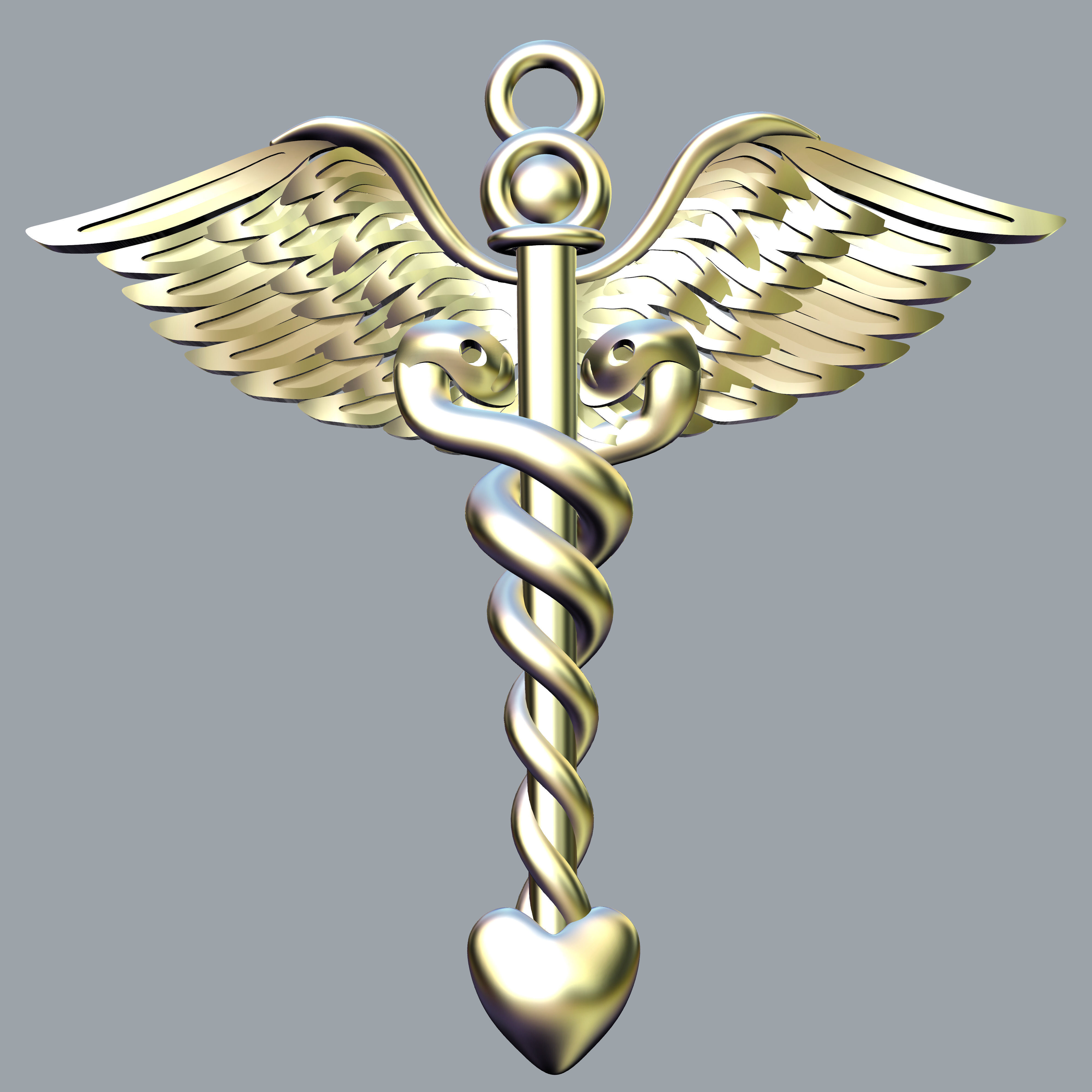 Staff of Asclepius pendant