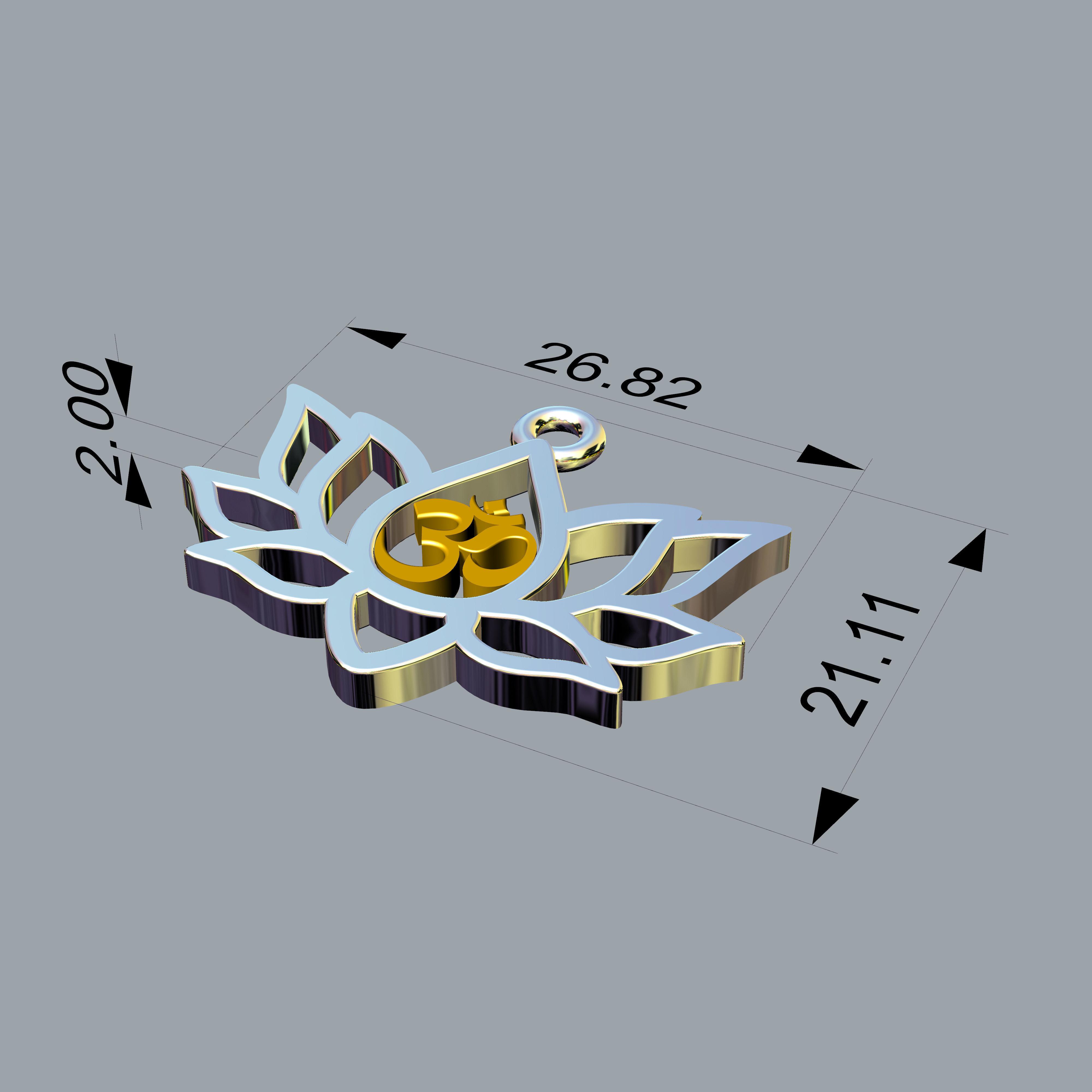 3d Printable Model Om Symbol In Lotus Pendant Cgtrader