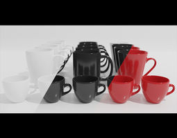 coffee mug cups and espresso cup 3d model