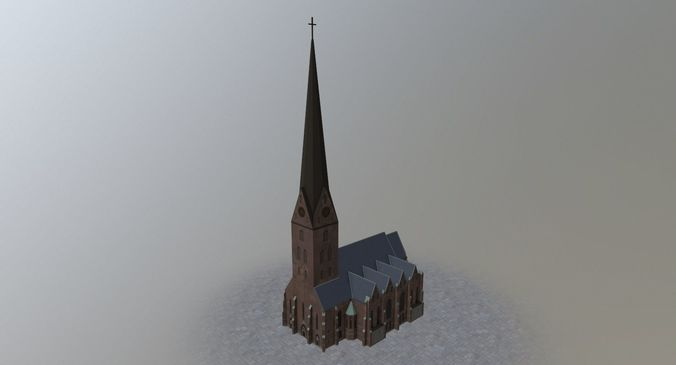 hamburg st petri kirche 3d model low-poly max obj mtl 3ds fbx 1