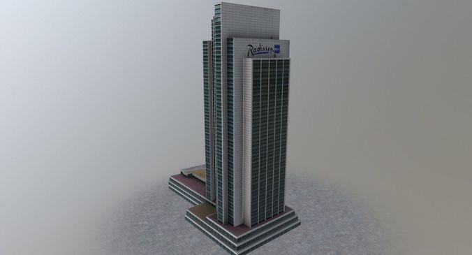hamburg radisson blu hotel 3d model low-poly max obj mtl 3ds fbx 1