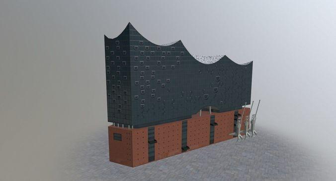 hamburg elbphilarmonie 3d model low-poly max obj mtl 3ds fbx 1