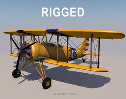 3D Yellow Biplane