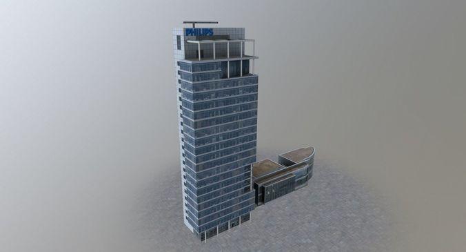 amsterdam philips building 3d model low-poly max obj mtl 3ds fbx 1