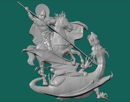 fight man and dragon 3D print model