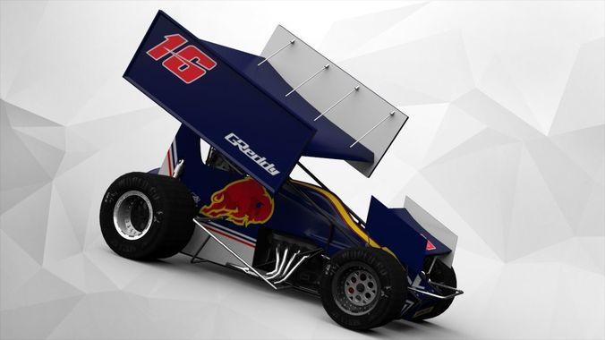 sprint car  3d model low-poly obj mtl fbx dae tga 1