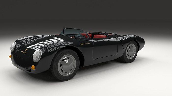 Porsche 550 Spyder Black 3d Model Obj Stl Blend Dae Cgtrader Com