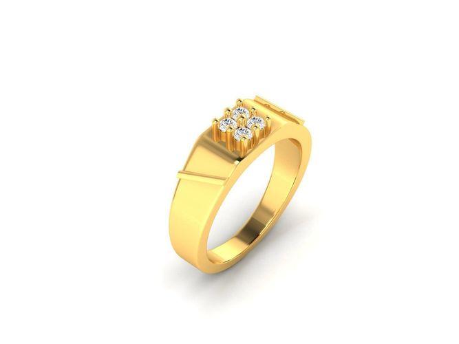 4ea64cd433 Mens Gold Ring With Diamonds 3 Model Printable M Jcad Jcd