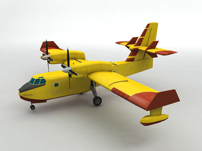 canadair cl-415 aircraft 3d model low-poly max obj mtl 3ds dxf stl wrl wrz 1