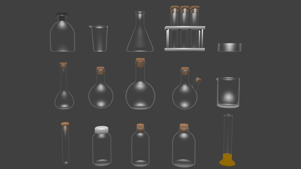 Chemical glassware kit low poly