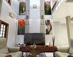 3D model double height living room