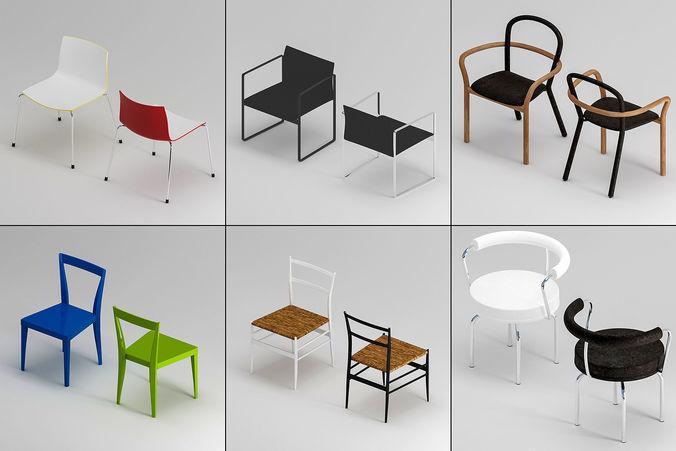 chair set 3d model max obj mtl fbx 1