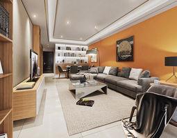 modern luxury living room 3D model