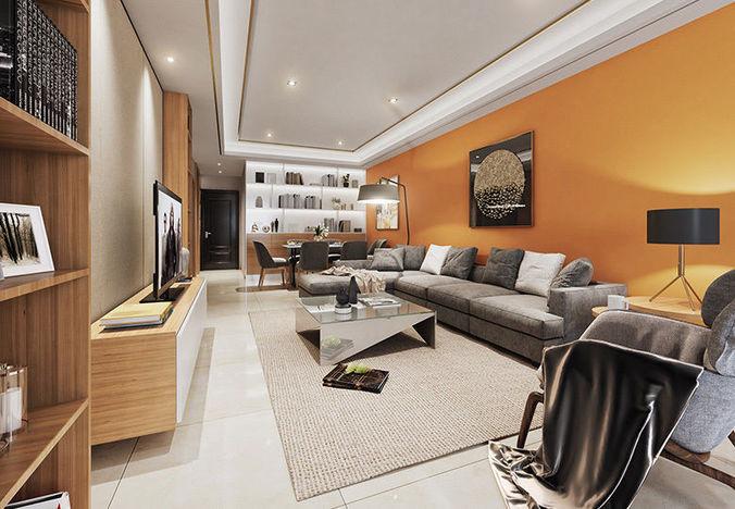 Modern Luxury Living Room 48D Model CGTrader Impressive Luxury Living Room Design Model