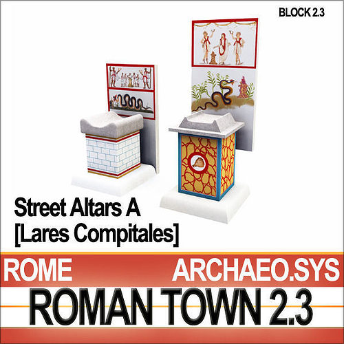 Roman Town Street Altars A 2 3 Low Poly Lares Compitales