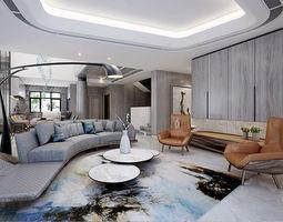 3D model modern living room bed