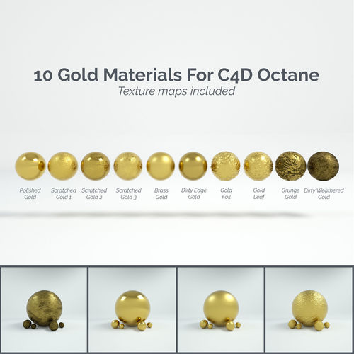 10 gold materials for cinema4d octane render 3d model c4d 1