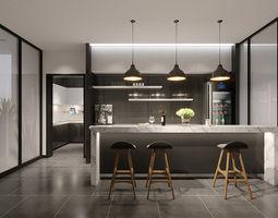modern kitchen mini bar 3D
