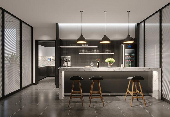 Modern Kitchen Mini Bar Model Max Obj Mtl S Fbx Stl Abc