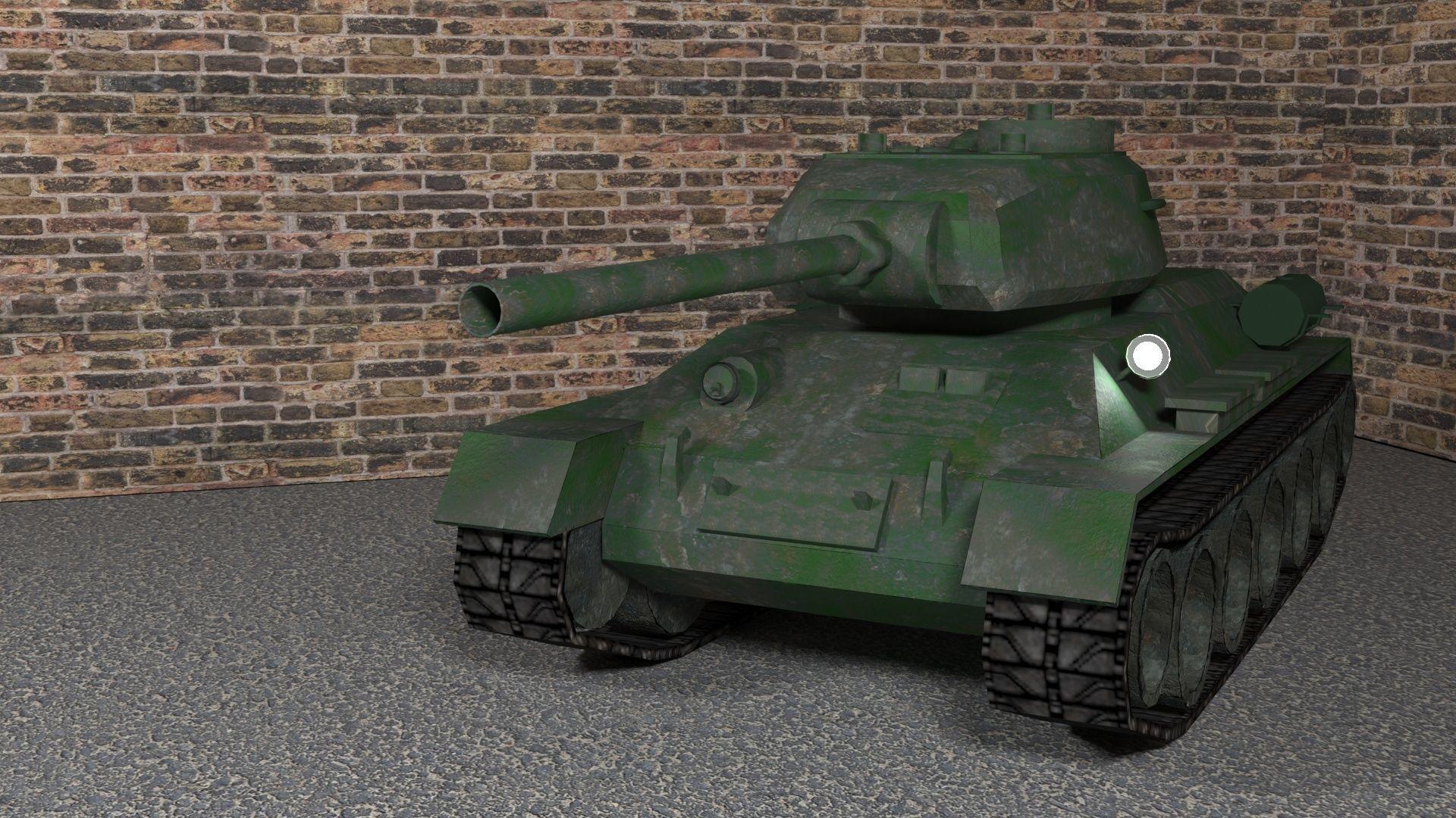 Tank T-34-85 low-poly 3D model