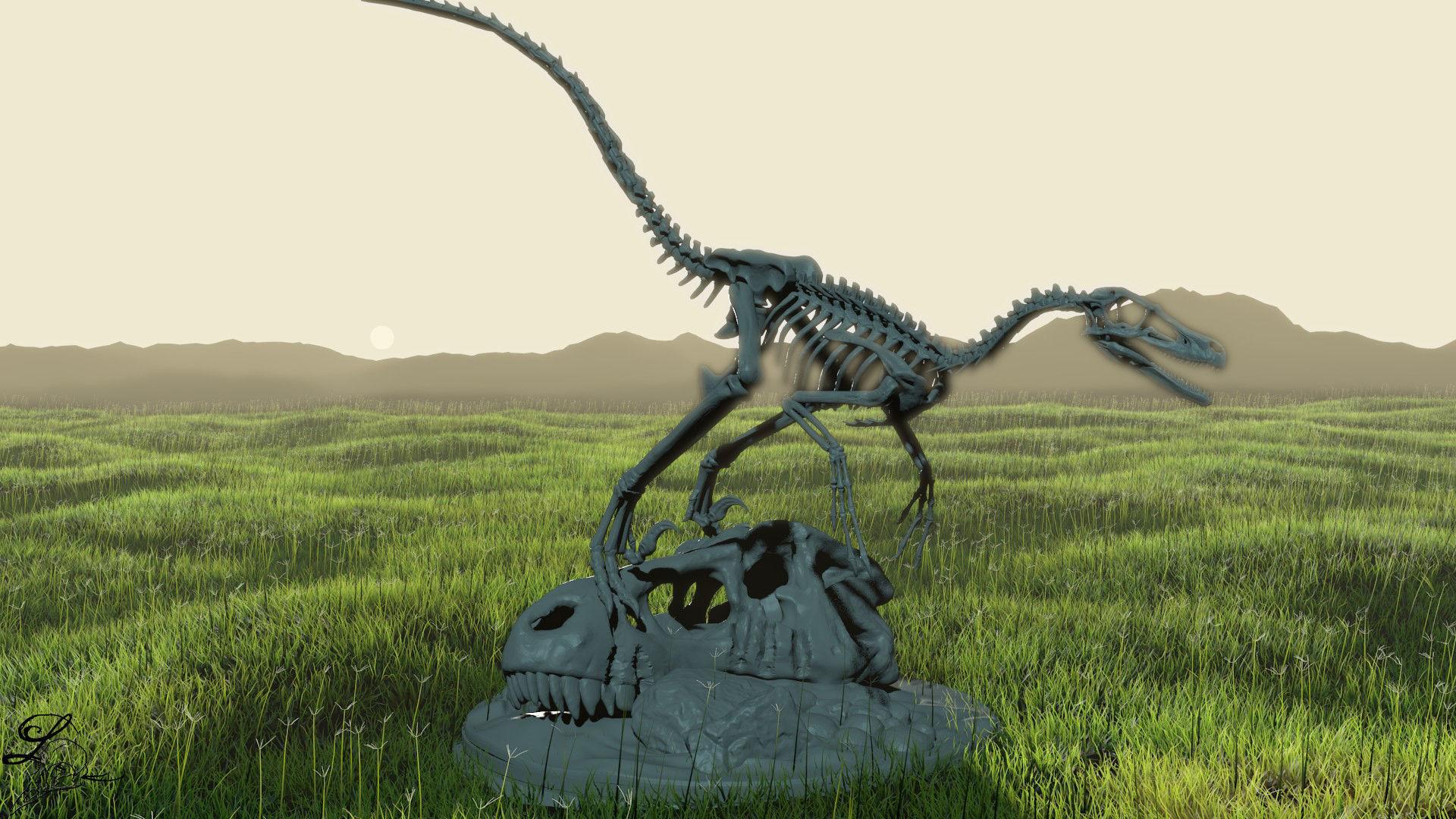 Velociraptor Skeleton Diorama with T-Rex