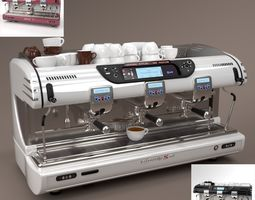 La spaziale Coffee Machine 3 group Blender Cycles 3D