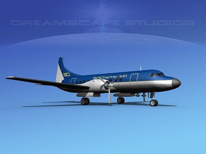 convair cv-340 air charter intl 3d model max obj mtl 3ds lwo lw lws dxf stl 1